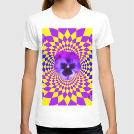 OPTICAL LILAC PURPLE PANSIES YELLOW  GEOMETRIC ART T-shirt
