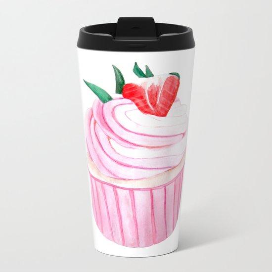 Strawberry Cupcake Metal Travel Mug
