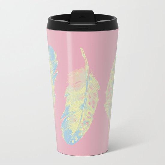 Abstract Feathers Metal Travel Mug