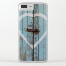 Rustic Blue Heart Clear iPhone Case