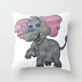 The Happy Elephant Throw Pillow