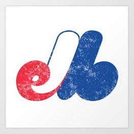 Montreal Expos Distressed Logo - Defunct Professional Baseball Team - Celebrate Quebec Sports History and Heristage - Retro Vintage Style Art Print