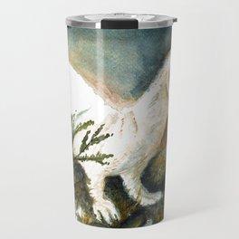 Winter stoat watercolor Travel Mug