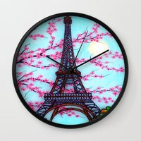 eiffel tower Wall Clocks featuring Eiffel Tower by ArtLovePassion