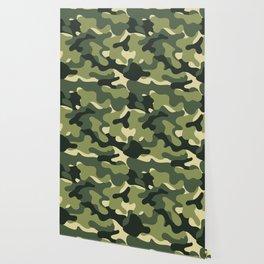 Camouflage Camo Green Tan Pattern Wallpaper