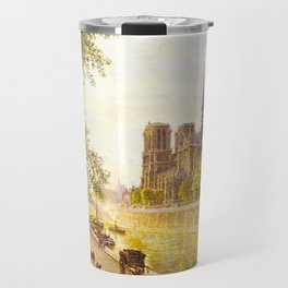L'lle de la Cite and the Cathedral of Notre Dame, Paris from Quai Montebello by Firmin-Girard Travel Mug