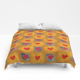 Heart_Coeur orange pattern Comforters