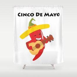 Happy Cinco De Mayo Pepper Playing Guitar Shower Curtain