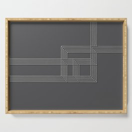 Parallel black white lines No. 01 Serving Tray