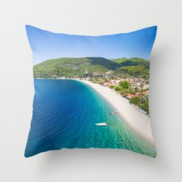 The beach Panormos of Skopelos island from drone, Greece Throw Pillow