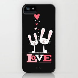 2 Bunnies in Love iPhone Case