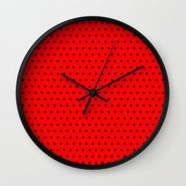 Polka / Dots - Black / Red - Small Wall Clock