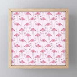 Flamingos - with pink background Framed Mini Art Print