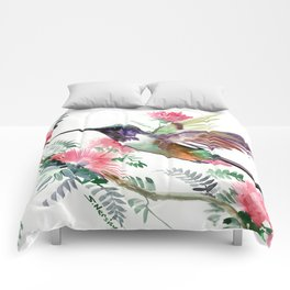 Flying Hummingbird and Red Flowers Comforters