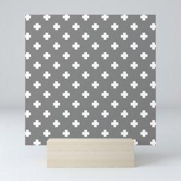 White Swiss Cross Pattern on Light Grey background Mini Art Print