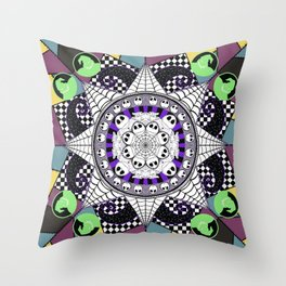 Nightmarish zentangle Throw Pillow
