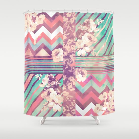 Retro Pink Turquoise Floral Stripe Chevron Pattern Shower Curtain