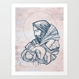 Jesus Christ Good Shepherd Art Print