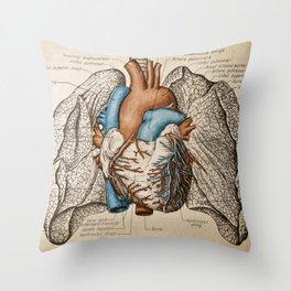 Vintage anatomy illustration Throw Pillow