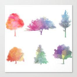 Rainbow Watercolor Trees Canvas Print