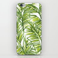 banana leaf iPhone & iPod Skins featuring Banana Leaf by The Paper Apartment