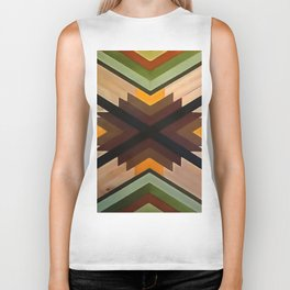 Geometric Wood Pattern Biker Tank