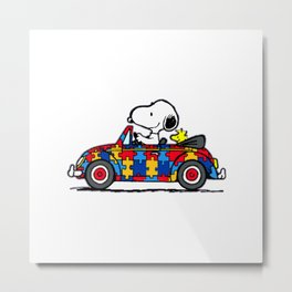 Snoopy drives a car Metal Print