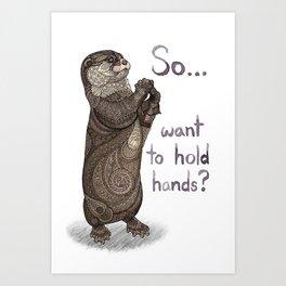 Otter Valentine Art Print