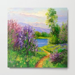 Lilac bloom on the river Metal Print