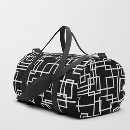 Geometric Cubic Line Pattern Black And White Duffle Bag