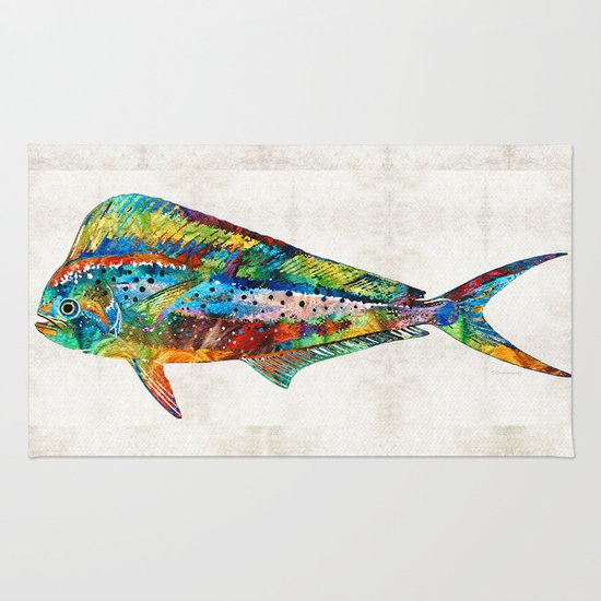 Colorful Dolphin Fish By Sharon Cummings Rug By Sharon