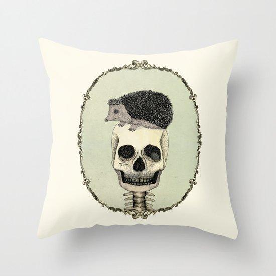 Yojik On A Skull Throw Pillow