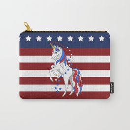 American Flag Stars and Stripes Unicorn Carry-All Pouch