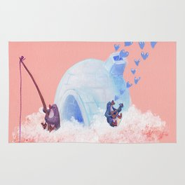Penguins Fishing and Making Music on Their Floating Island Igloo Home Rug