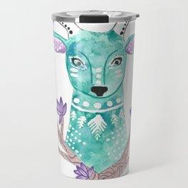 Floral Deer Travel Mug