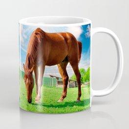 horse eating grass Coffee Mug