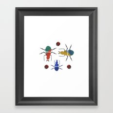playful insects Framed Art Print