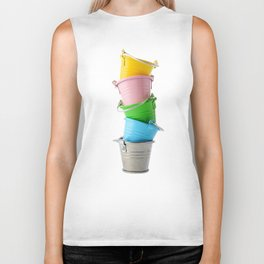 Colorful buckets, stacked vertically Biker Tank