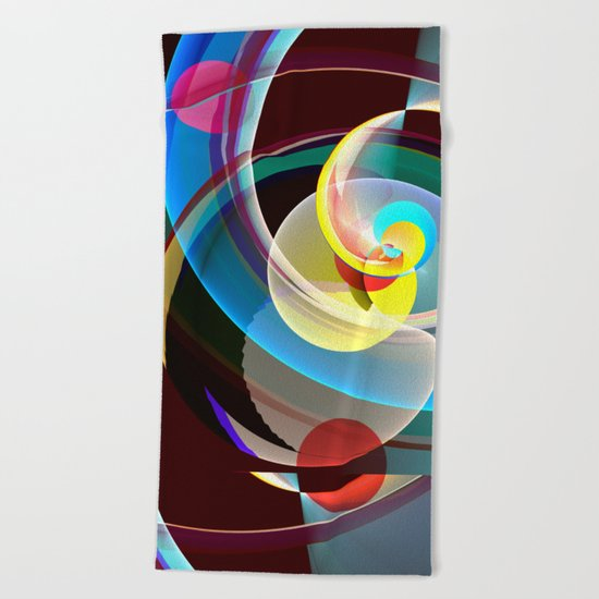 Modern colourful abstract with circles in motion Beach Towel