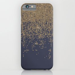 Navy Blue Gold Sparkly Glitter Ombre iPhone Case