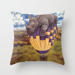 When Rhinos Fly Throw Pillow