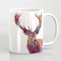 positive Mugs featuring Red Deer // Stag by Amy Hamilton