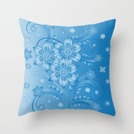 Abstract blue flowers with background Throw Pillow