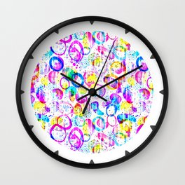 Sweet As Candy - colorful watercolor pattern by Lo Lah Studio Wall Clock