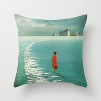 cities Throw Pillows featuring Waiting For The Cities To Fade Out by Frank Moth