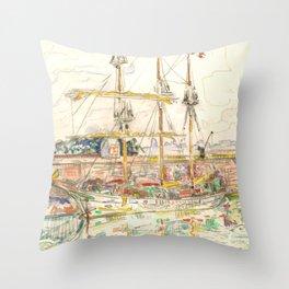 "Paul Signac ""Docks at Saint Malo"" Throw Pillow"