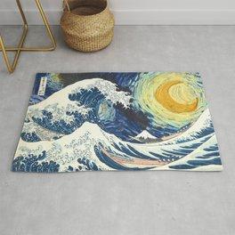 Starry Night Over The Great Wave Off Kanagawa Van Gogh/Hokusai Rug