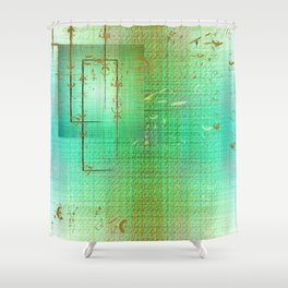 Green and Gold Serenity Shower Curtain