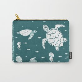 Underwater World Teal Blue Carry-All Pouch