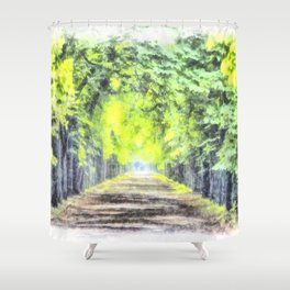 Forest Path Watercolour Art Shower Curtain